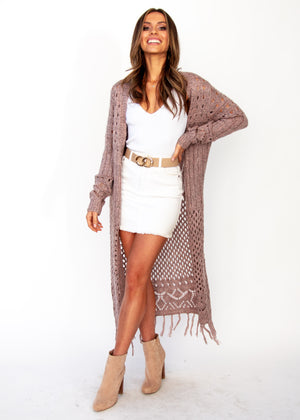Women's Turning Away Boho Cardigan - Blush