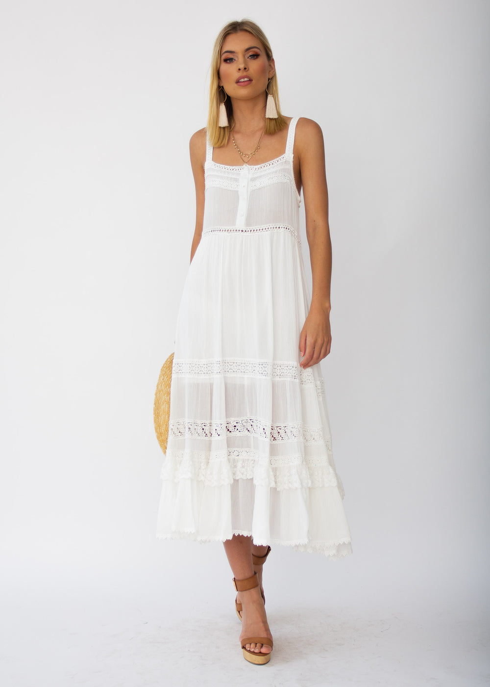 Baja Swing Midi Dress - White