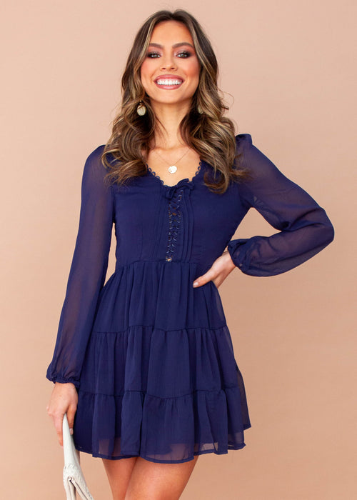 Fancy That Chiffon Swing Dress - Navy