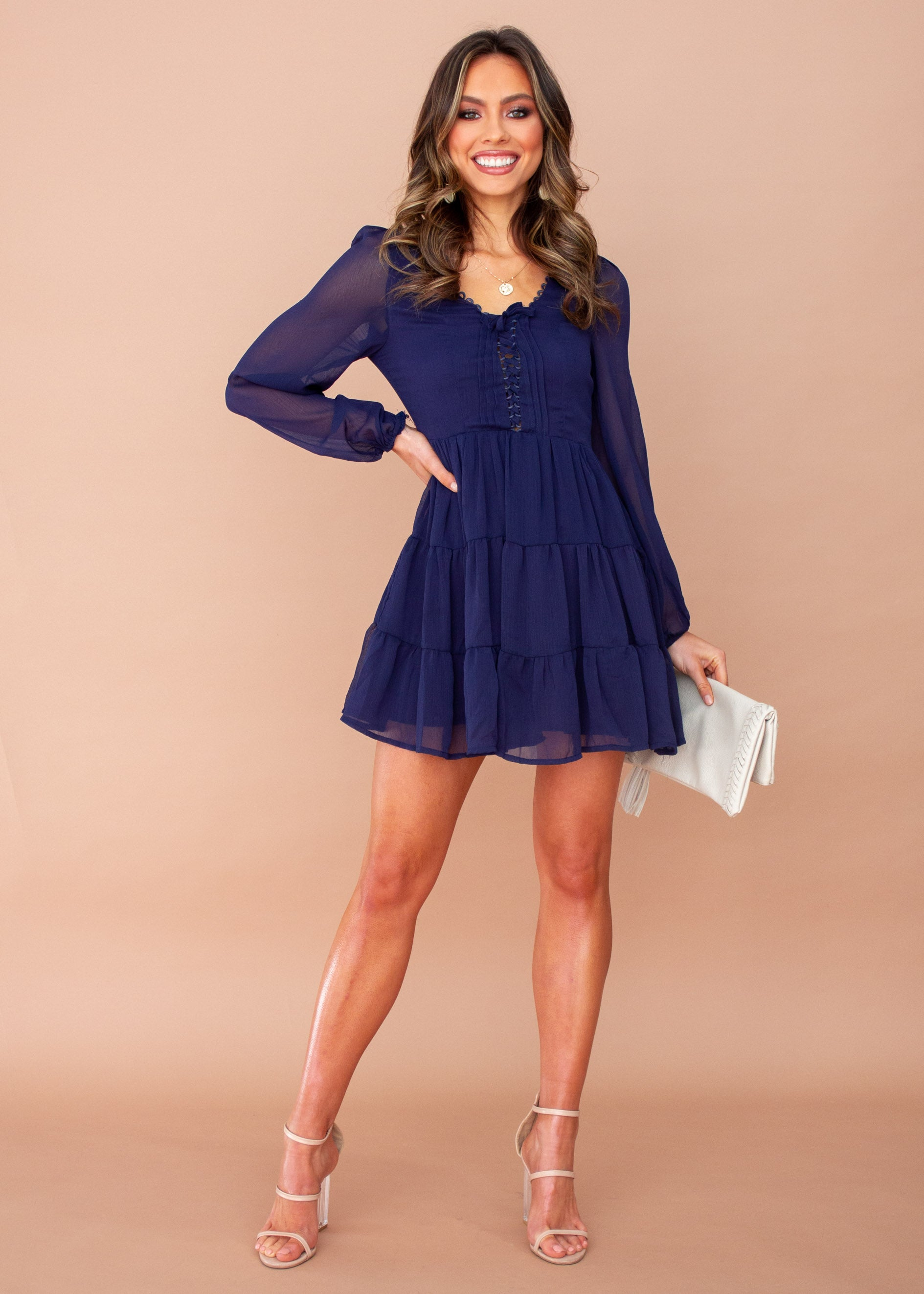 Women's Fancy That Chiffon Swing Dress - Navy