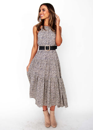 Solstace Midi Dress - Vanilla Bean Print