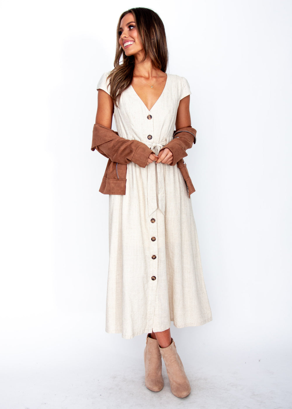 Bourdeaux Midi Dress - Natural