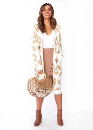 Only A Moment Cardigan - Cream Leopard Print