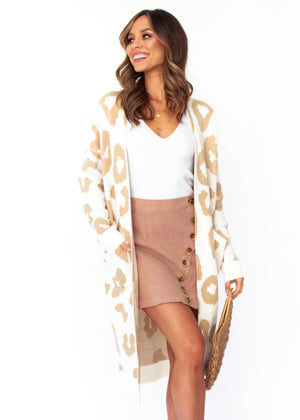 Women's Only A Moment Cardigan - Cream Leopard Print
