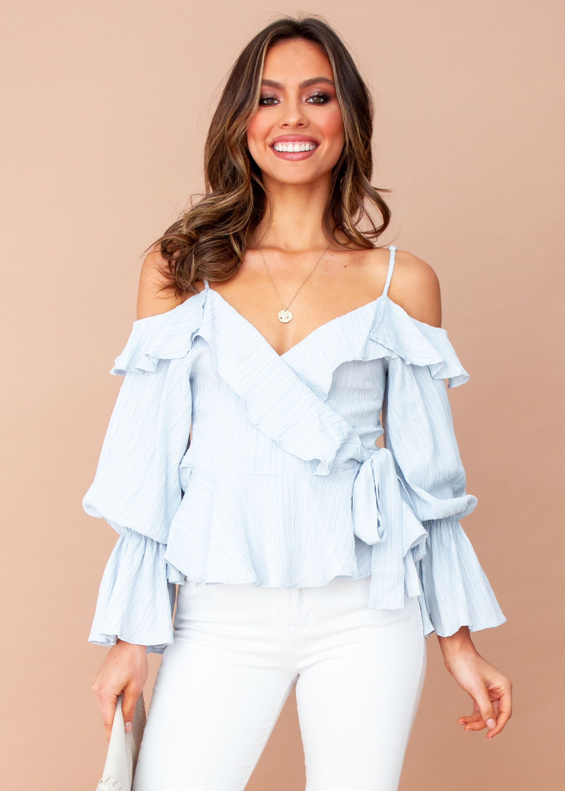 Women's Raised in Paris Wrap Top - Light Blue
