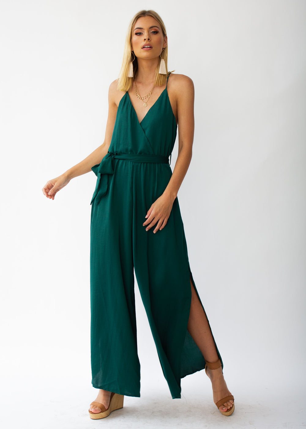 Losing Sight Pantsuit - Forest Green