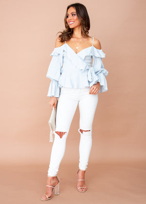 Raised in Paris Wrap Top - Light Blue