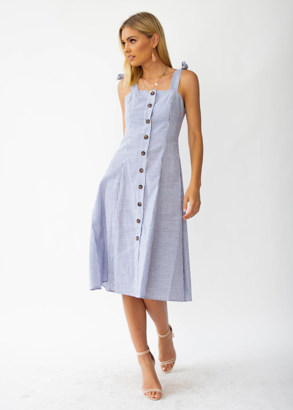 Better Left Unsaid Midi Dress - Blue Stripe