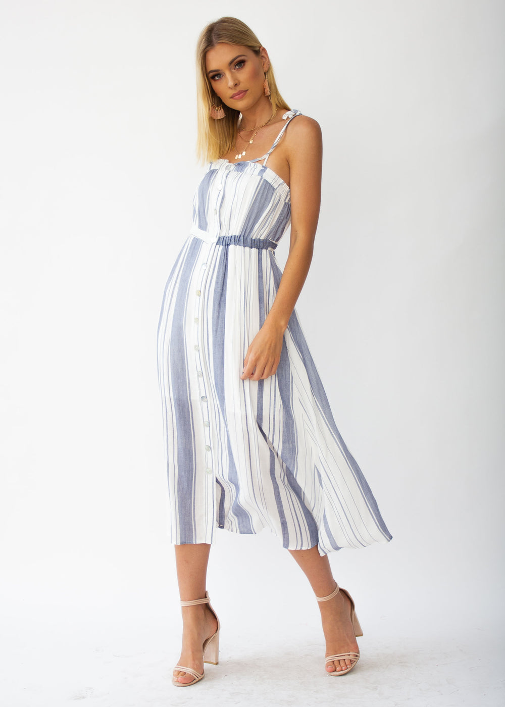 Addilyn Midi Dress - White/Blue Stripe