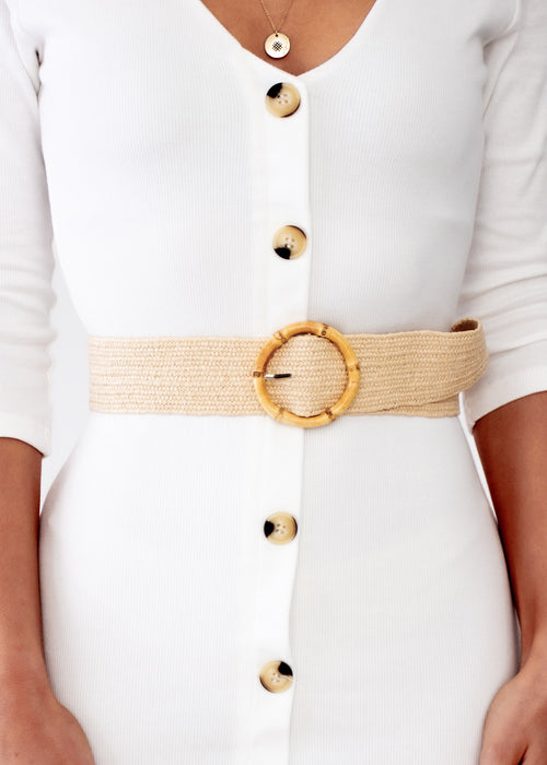 Women's Luna Bamboo Belt - Cream