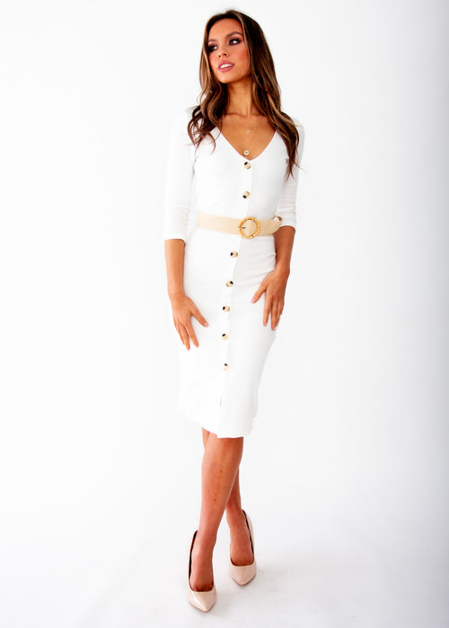 Bold Move Midi Dress - White