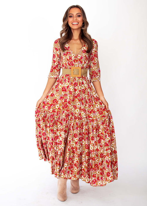 Mia Maxi Dress - Zimi Print - Jaase