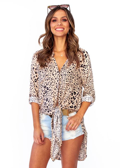 Women's Better For You Shirt - Nude Leopard Print