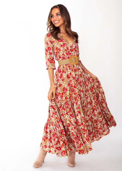 Women's Mia Maxi Dress - Zimi Print - Jaase