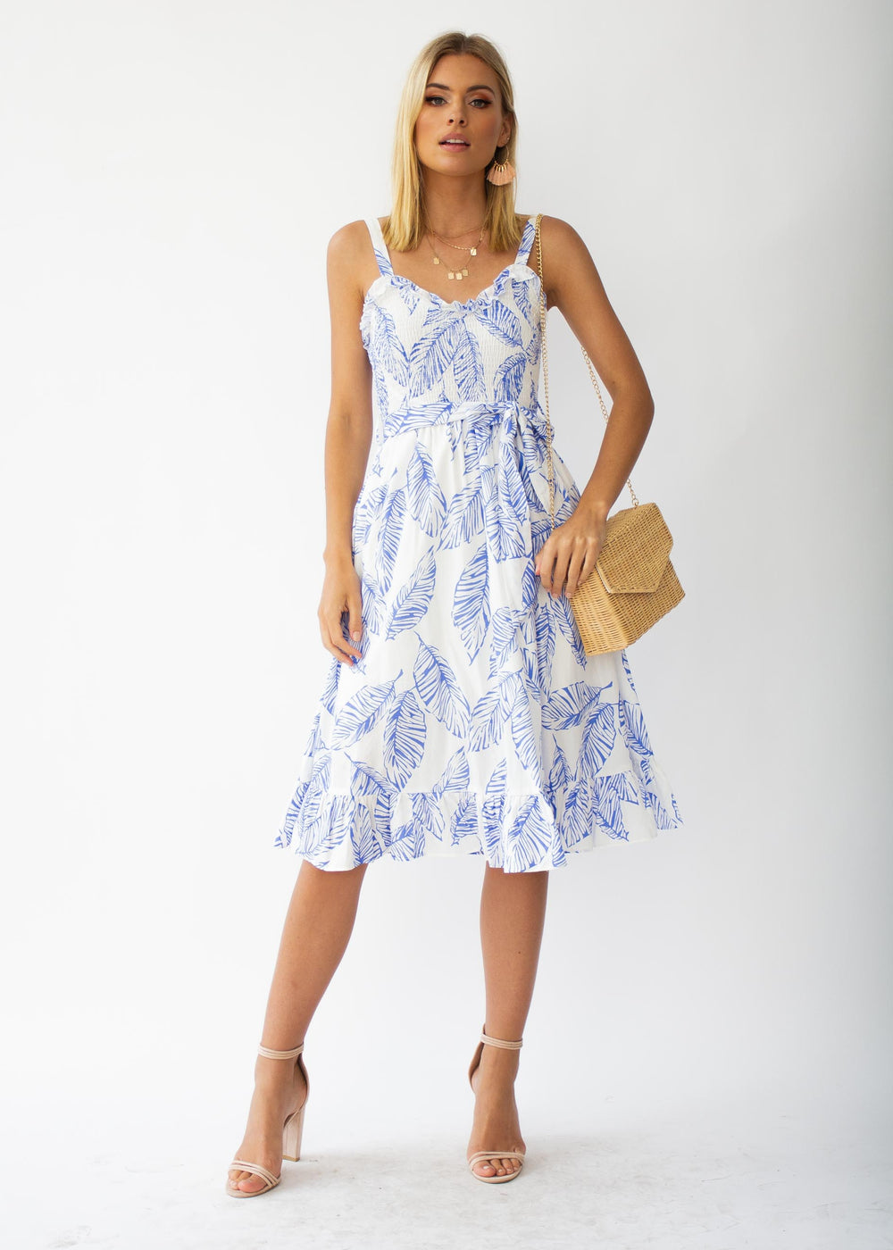 Great Escape Midi Dress w/ Tie - Blue Leaf