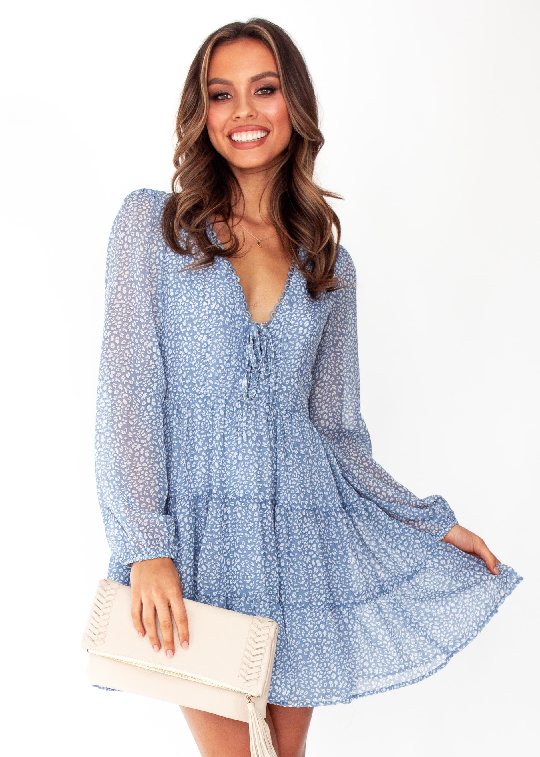 Women's Fancy That Swing Dress - Blue Spot