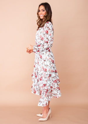 Doll Face Midi Dress - White Floral