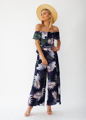 Helene Off-Shoulder Pantsuit - Navy Palm