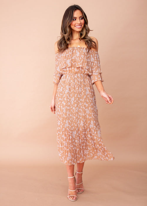 Women's Jasmine Midi Dress - Tan Floral