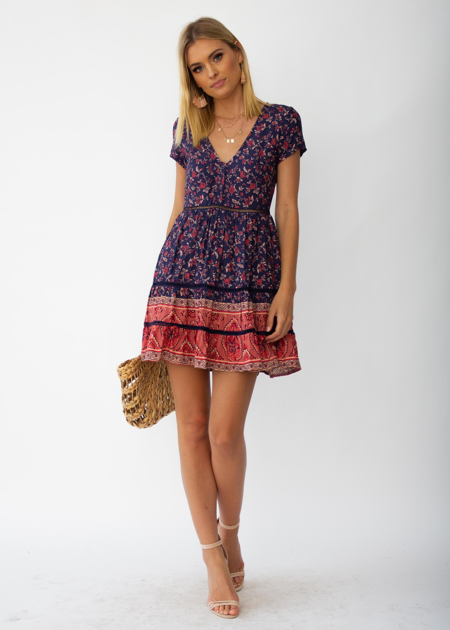 6ae659a3f44 Evie Swing Dress - Navy Floral ...