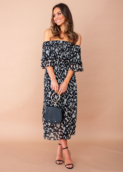 Women's Jasmine Midi Dress - Black Floral