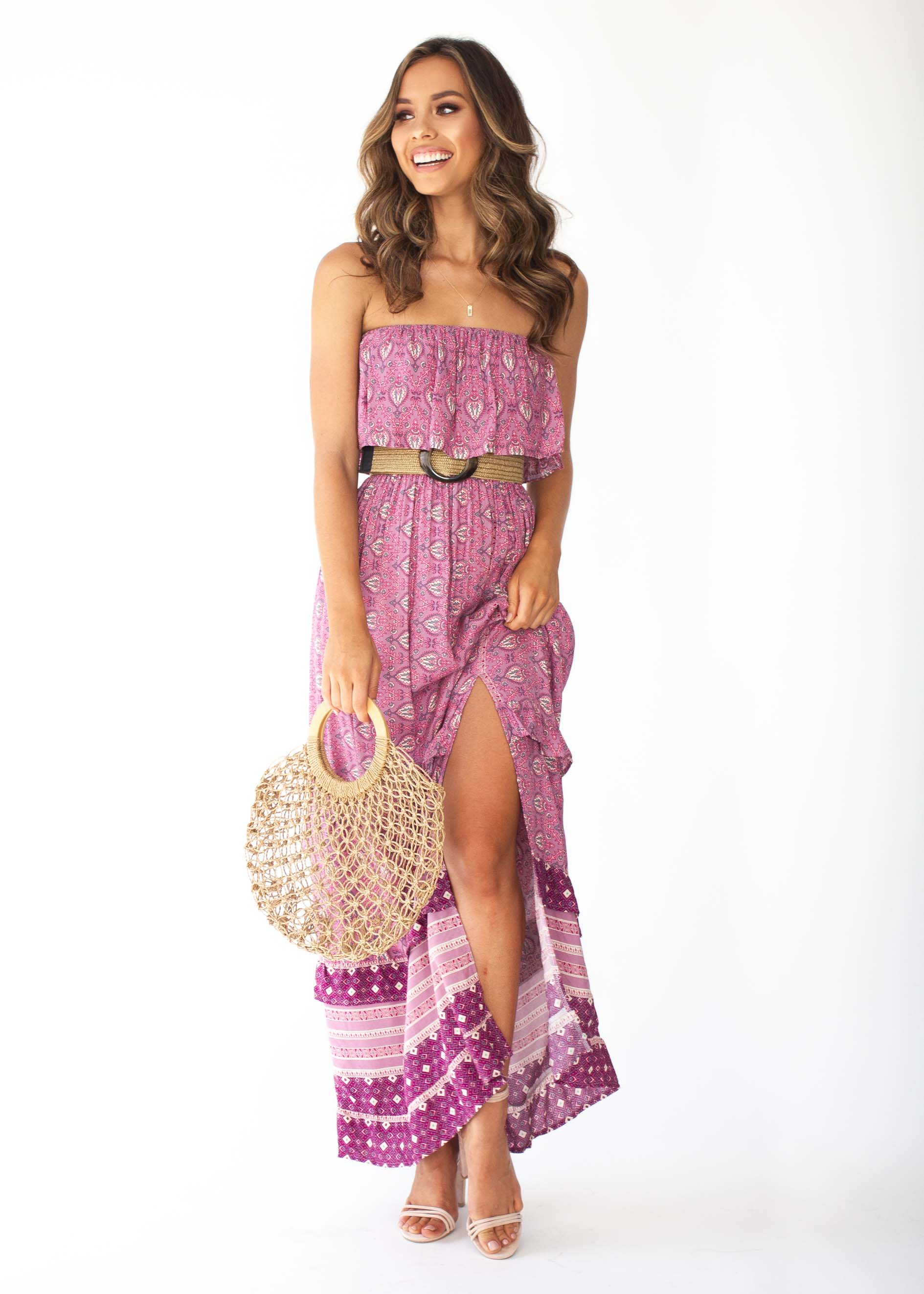 Amaryllis Strapless Maxi Dress - Purple Paisley  1d9356d12
