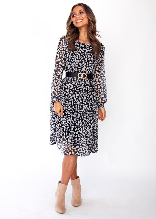 Kasenia Midi Dress - Black/White