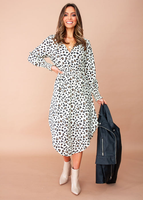 Ashton Midi Dress - Cream Leopard