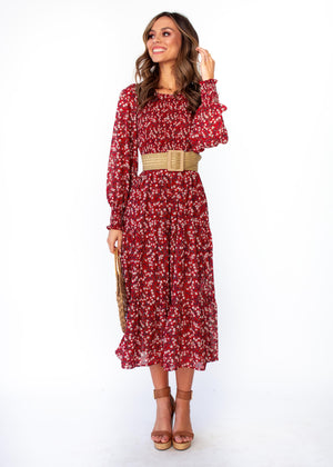 Women's Everlasting Wish Midi Dress - Burgundy Floral Print
