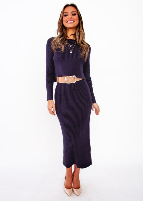 Women's Almost Mine Knit Set - Navy