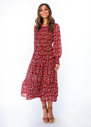 Everlasting Wish Midi Dress - Burgundy Floral