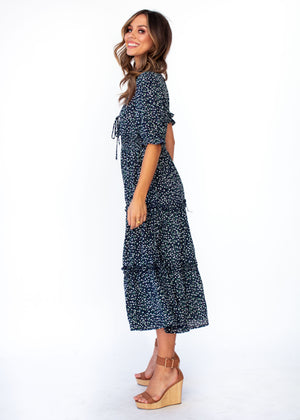 Caught In The Flames Midi Dress - Navy Floral