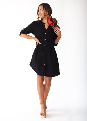 Laid Back Cotton Buttoned Shirt Dress - Black
