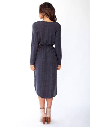 Start To Finish Knit Midi Dress - Charcoal
