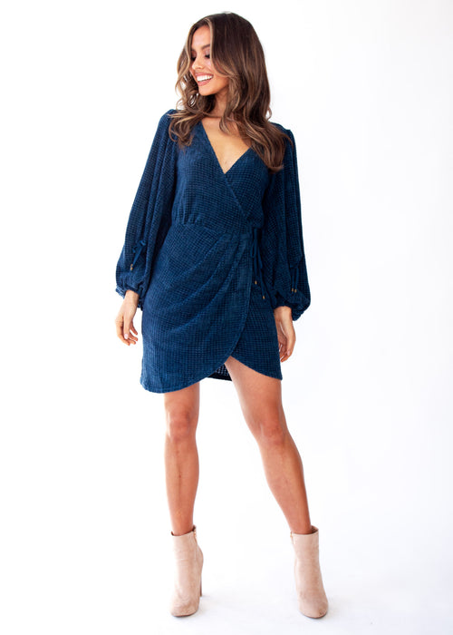 Charli Knit Wrap Dress - Teal