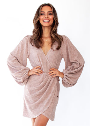 Women's Charli Knit Wrap Dress - Mocha