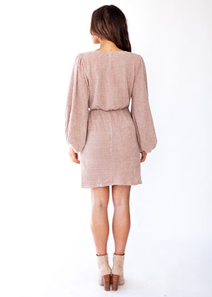 Charli Knit Wrap Dress - Mocha