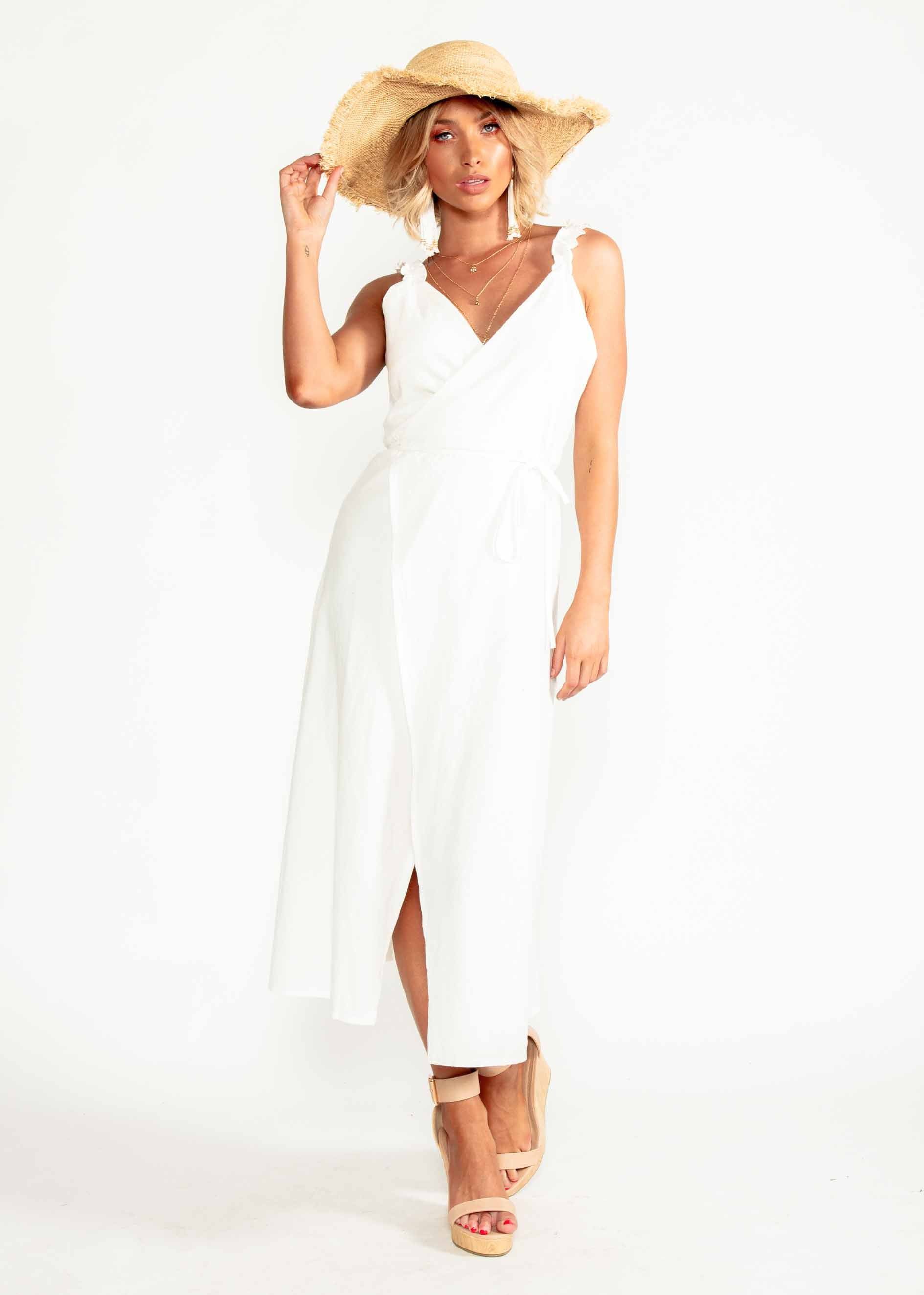Wicked Games Wrap Midi Dress - Ivory