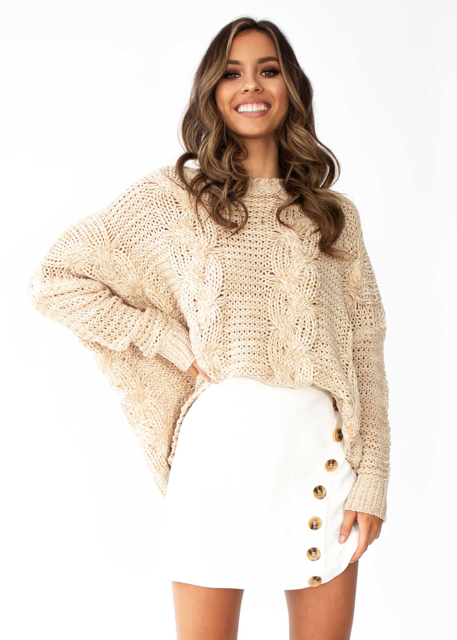 cce472b5803ed Easy Days Cable Knit Sweater - Beige – Gingham and Heels