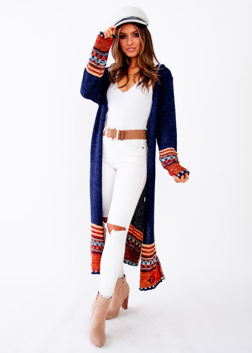 Women's Ivy Hooded Cardigan - Navy - Jaase
