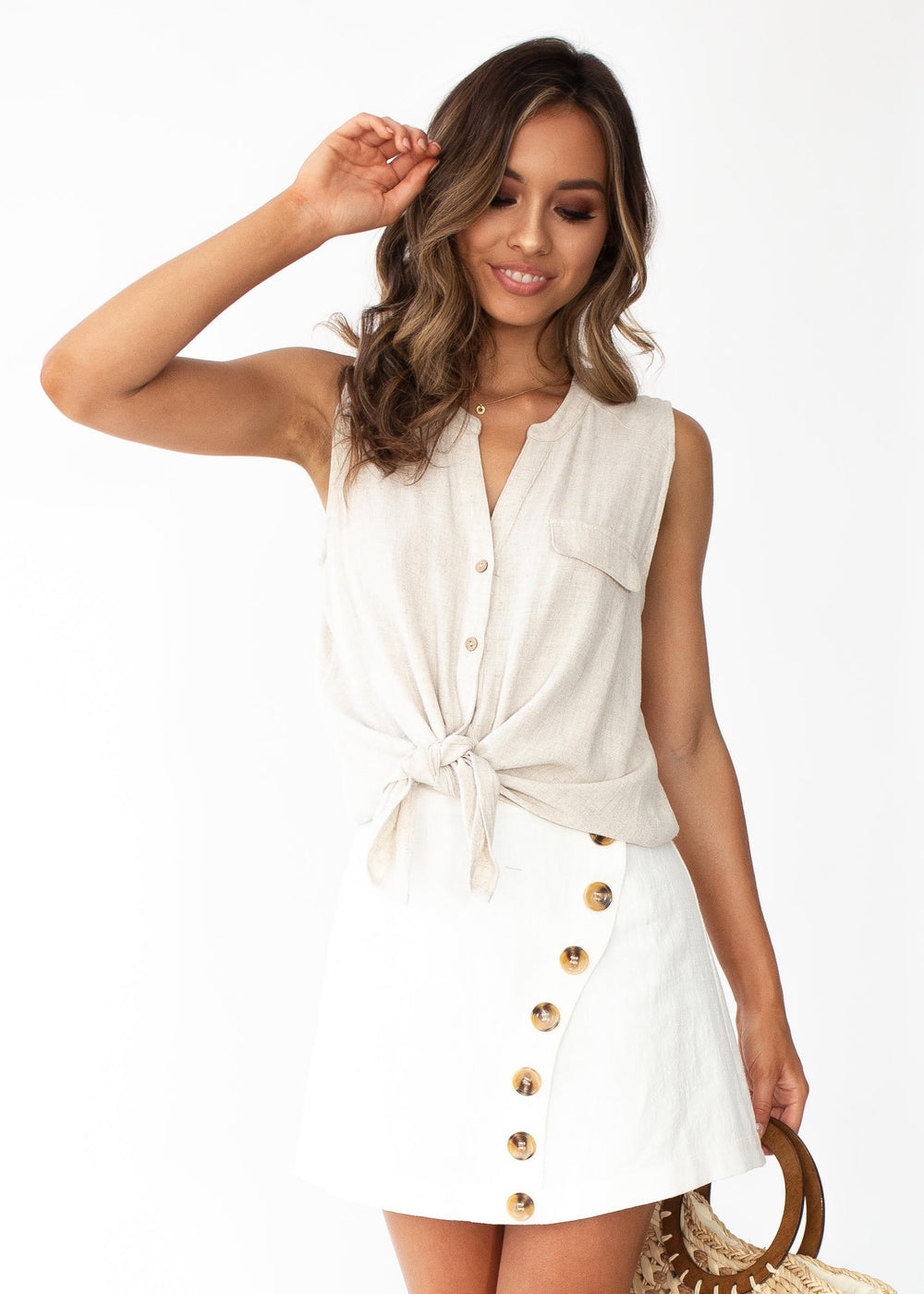 Catriona Tie Front Sleeveless Top - Natural