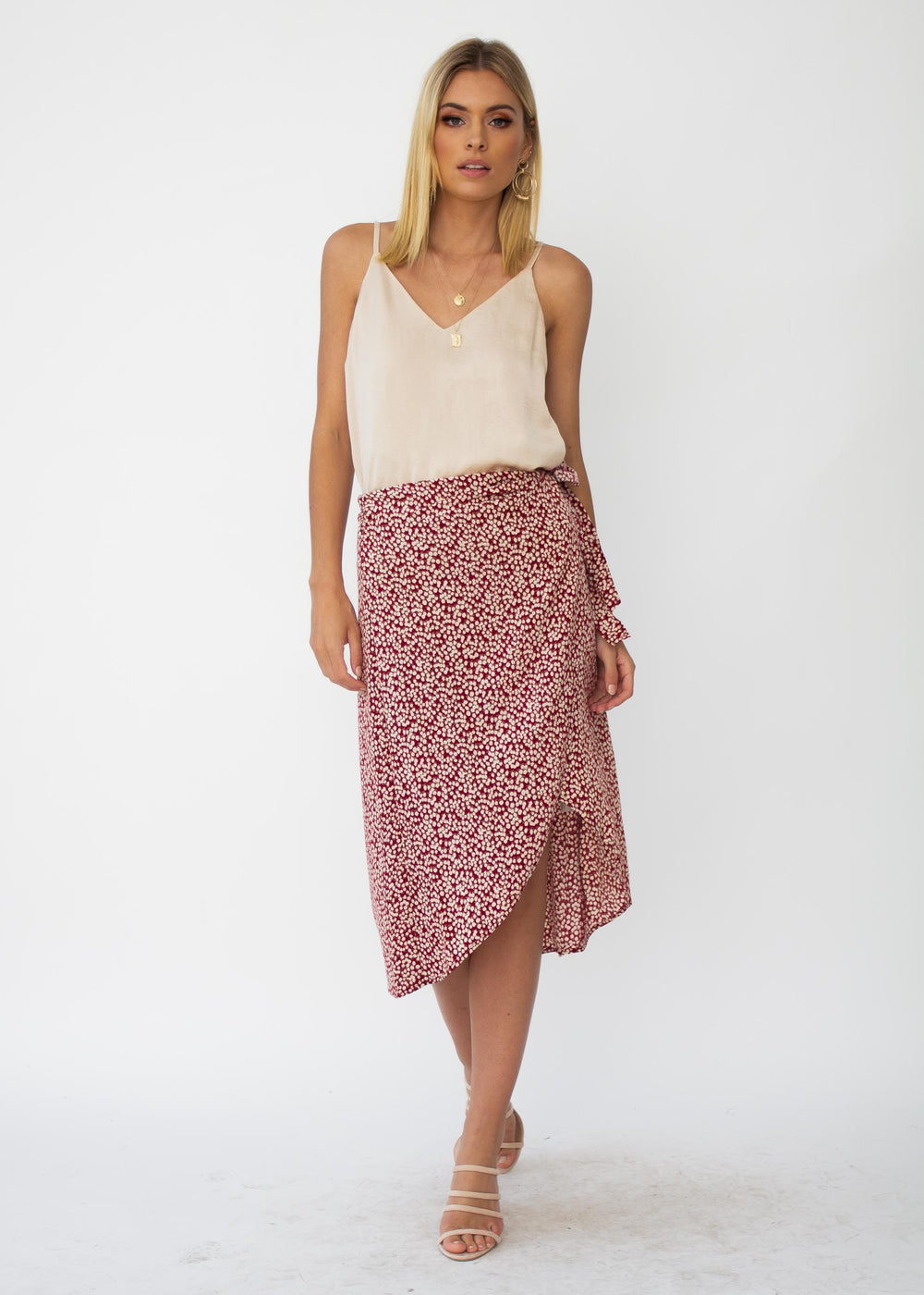 Bold Love Midi Wrap Skirt - Red Floral