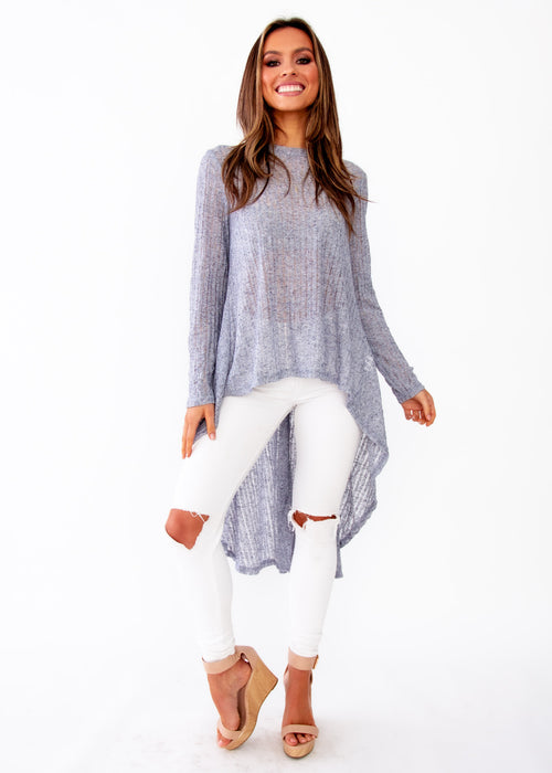 Women's Heartlands Hi-Lo L/S Blouse - Ice Grey