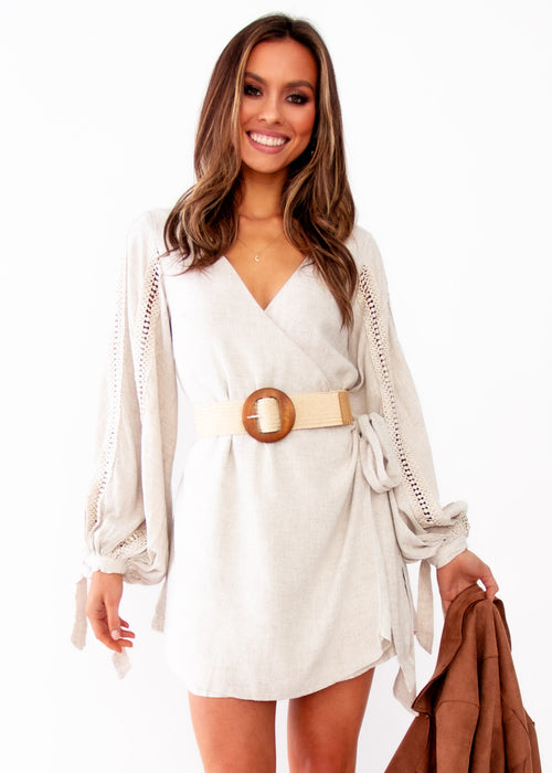 Duchess Wrap Dress - Natural