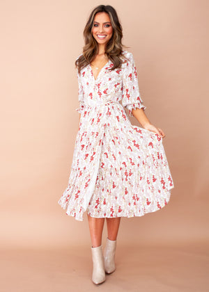 Women's Annie Wrap Midi Dress - White Floral