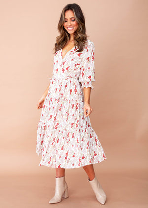 Annie Wrap Midi Dress - White Floral
