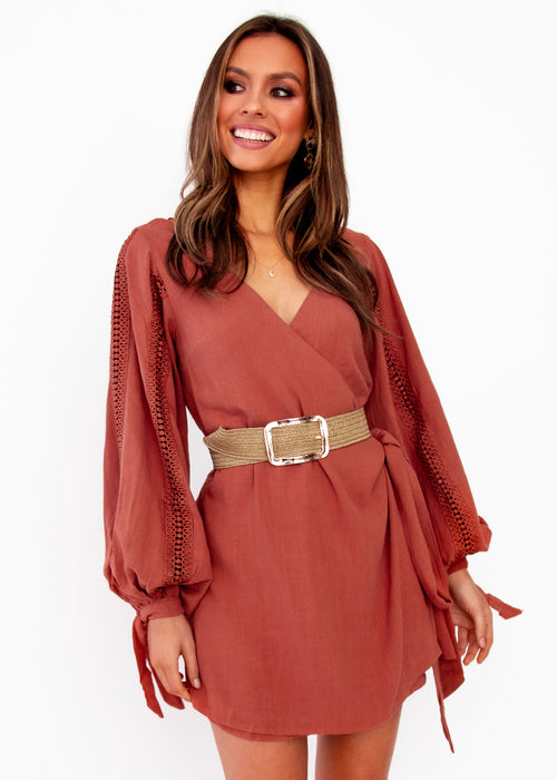 Women's Duchess Wrap Dress - Rust