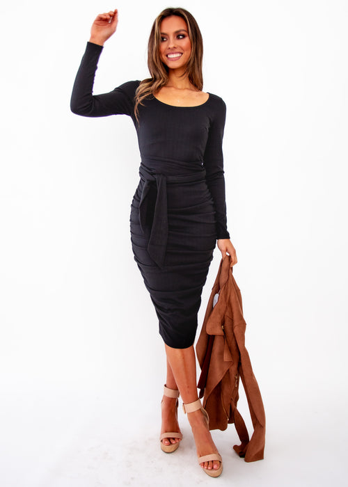 Believe Again Midi Dress - Black
