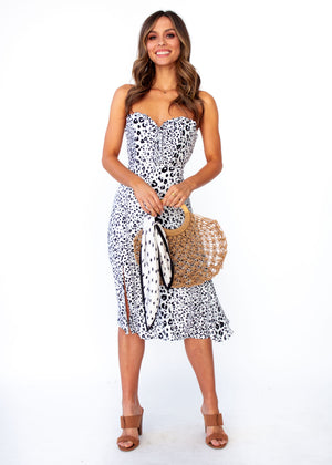 Tucson Strapless Midi Dress - Snow Leopard Print