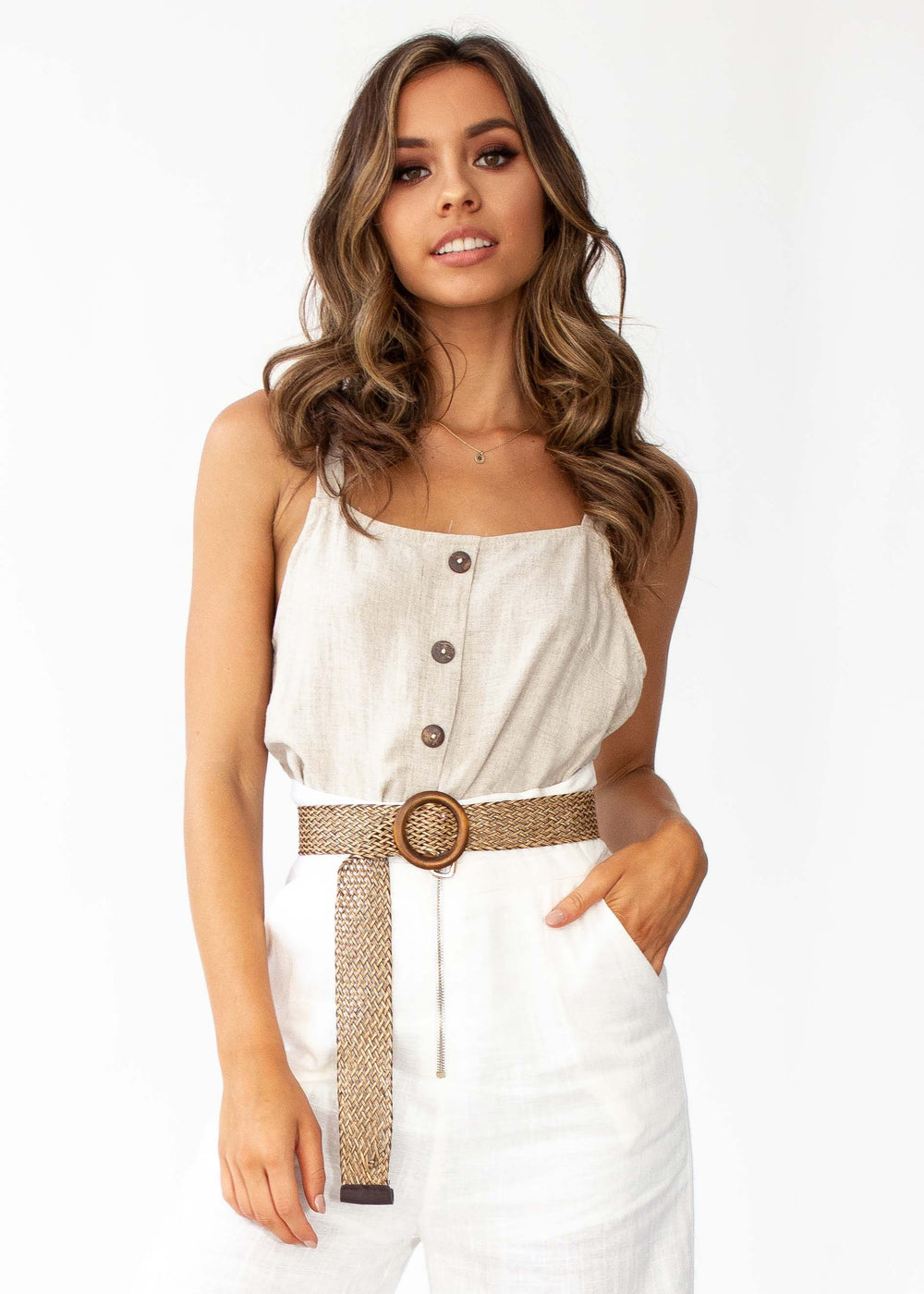Stand Alone Linen Cami - Natural